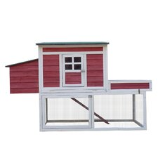 Farmhouse Chicken Coop with Display Top, Run Area and Nesting Box