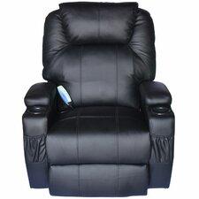 HomCom Deluxe Heated Vibrating Vinyl Leather Massage Recliner
