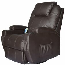 HomCom Deluxe Heated Vibrating Vinyl Leather Massage Recliner