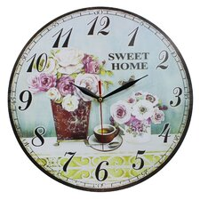 Wanduhr Wild Roses and Sweet Home 34 cm
