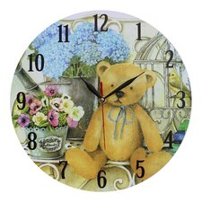 Wanduhr Teddy Bear and Flowers 34 cm