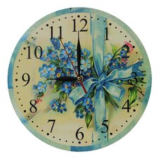 Wanduhr Blue Flowers Bouquet and Ribbon 28 cm