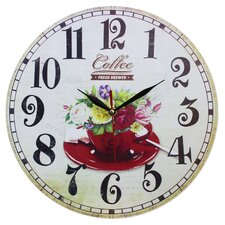 Wanduhr Flowers and Coffee Cup 34 cm