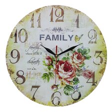 Wanduhr Family and Roses 34 cm