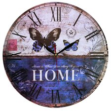 Wanduhr Home Is Where Your Story Begins Butterfly 34 cm