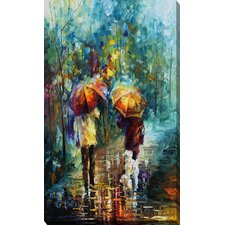 """""""Friends with a Dog"""" by Leonid Afremov Painting Print on Wrapped Canvas"""