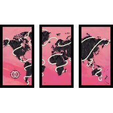 """""""Coco'S Pearls"""" by BY Jodi 3 Piece Framed Graphic Art Set in Pink"""""""