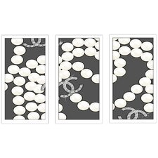 """""""Coco'S Pearls"""" by BY Jodi 3 Piece Framed Graphic Art Set"""