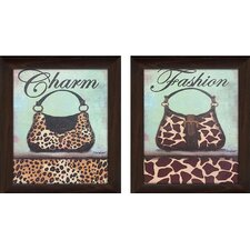 """Charm & Fashion 1"" 2 Piece Framed Wall Art on Canvas Set"