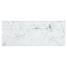 "Bianco Carrara 5"" x 12"" Marble Base Molding Tile (Set of 10)"
