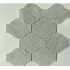 "Bianco Carrara 11.4'' x 13.1"" Marble Mosaic Tile in Lanterna Polished (Set of 5)"