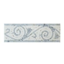 Bianco Carrara Art Border Polished in Blue Stone and Arctic White (Set of 10)