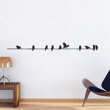 Wandtattoo Vögel auf Stromleitung