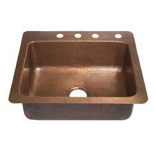 "25"" x 22"" Drop-In 4-Hole Single Bowl Kitchen Sink"
