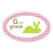 Personalized Girl Animal Oval Wall Plaque
