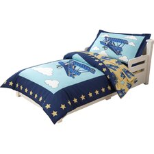 Airplane 4 Piece Toddler Bedding Set