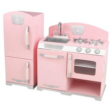2 Piece Retro Kitchen and Refrigerator Set