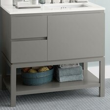 "Chloe 36"" Bathroom Vanity Base Cabinet in Slate Gray - Large Drawer on Right"