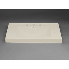 "Evin 32"" Ceramic Sinktop with 8"" Widespread Faucet Hole in Biscuit"
