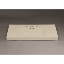 "Evin 37"" Ceramic Sinktop with 8"" Widespread Faucet Hole in Bisciut"
