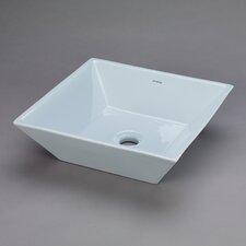 Square Ceramic Vessel Bathroom Sink in Sky Blue