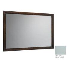 """Transitional 60"""" x 39"""" Solid Wood Framed Bathroom Mirror in Café Walnut"""