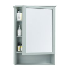 """24"""" x 35"""" Surface Mount Solid Wood Framed Medicine Cabinet in Ocean Gray"""