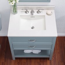 Rectangle Ceramic Undermount Bathroom Sink with Overflow in White