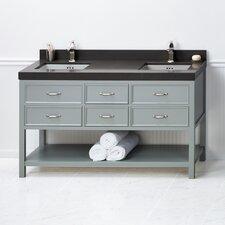 """Newcastle 60"""" Double Bathroom Vanity Base in Ocean Gray"""