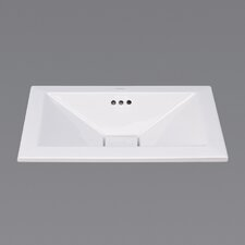Ceramic Vessel - Square tapered semi-recessed w/overflow-White