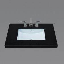 Rectangle Ceramic Undermount Bathroom Sink in Sky Blue