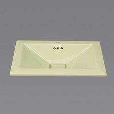 Ceramic Semi-Recessed Bathroom Sink in Pear Green