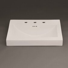 "Evin 24"" Ceramic Sinktop with 8"" Widespread Faucet Hole in Cool Gray"