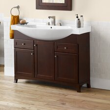 "Adara 47"" Space Saver Bathroom Vanity Cabinet Base in Dark Cherry - Wood Door"
