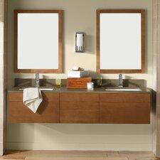 "Rebecca 64"" Double Wall Mount Bathroom Vanity Set with Mirror"