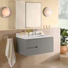 "Vanessa 36"" Single Wall Mount Bathroom Vanity Set with Mirror"