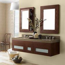 "Rebecca 47"" Double Wall Mount Bathroom Vanity Set with Mirror"