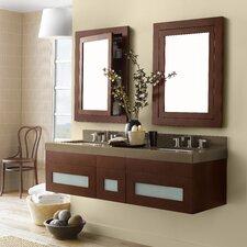 "Rebecca 23"" Double Wall Mount Bathroom Vanity Set with Mirror"