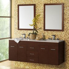 "Bella 61"" Double Wall Mount Bathroom Vanity Set with Mirror"