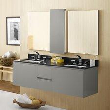 "Ariella 58"" Double Wall Mount Bathroom Vanity Set with Mirror"