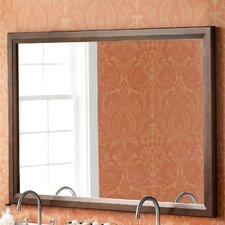 "Transitional 60"" x 39"" Solid Wood Framed Bathroom Mirror in Café Walnut"