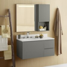 "Ariella 35"" Single Wall Mount Bathroom Vanity Set with Mirror"