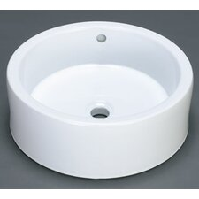 Round Ceramic Vessel Bathroom Sink with Overflow