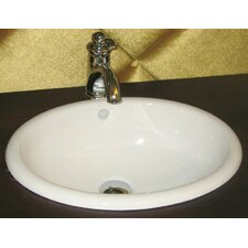 Oval Ceramic Drop-in Bathroom Sink in White