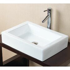 Rectangle Ceramic Vessel Bathroom Sink in White