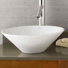 Round Geometric Ceramic Vessel Bathroom Sink in White