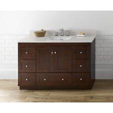 "Shaker 48"" Bathroom Vanity Cabinet Base in Dark Cherry - Wood Doors"