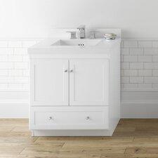 """Shaker 30"""" Bathroom Vanity Cabinet Base in White - Wood Doors"""