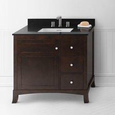 """Hampton 36"""" Bathroom Vanity Cabinet Base in Vintage Walnut - Door on Left"""