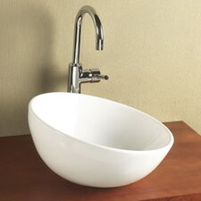 Sloped Rim Ceramic Vessel Bathroom Sink in White